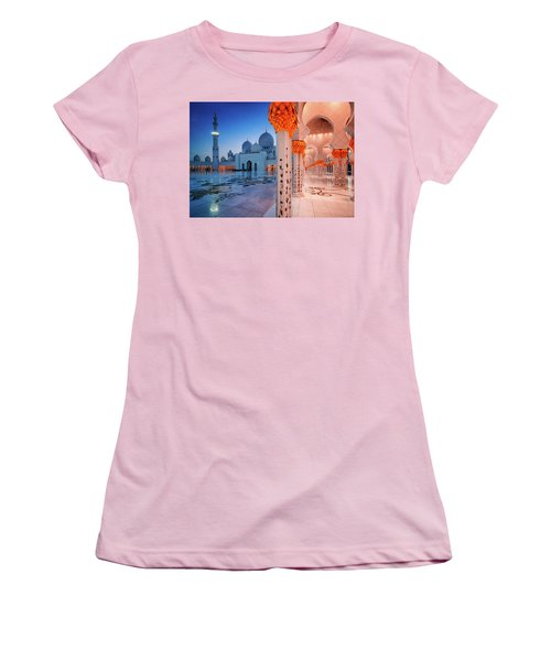 Night View At Sheikh Zayed Grand Mosque, Abu Dhabi, United Arab Emirates Women's T-Shirt (Athletic Fit)