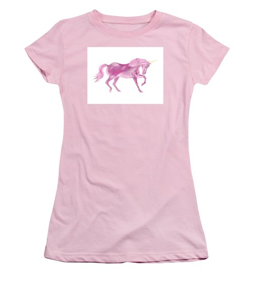 Women's T-Shirt (Athletic Fit) featuring the mixed media Pink Unicorn by Elizabeth Lock
