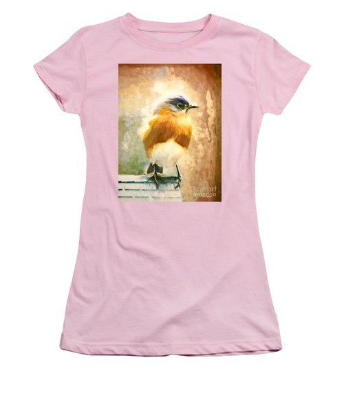 Strapping Bluebird Women's T-Shirt (Junior Cut) by Tina LeCour