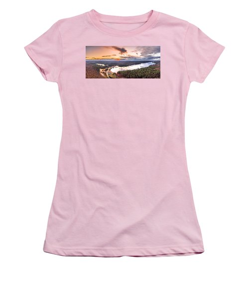 Women's T-Shirt (Junior Cut) featuring the photograph Sunset At Saville Dam - Barkhamsted Reservoir Connecticut by Petr Hejl