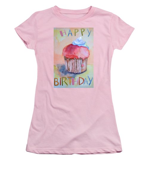 Watercolor Illustration Of Cake  Women's T-Shirt (Athletic Fit)