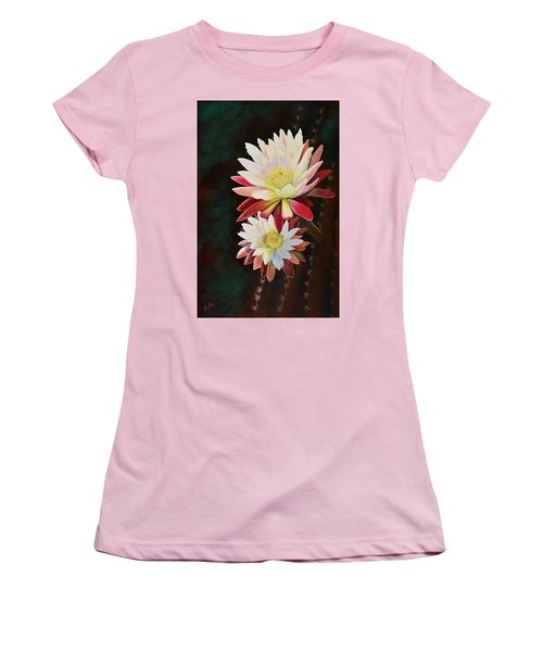 Women's T-Shirt (Junior Cut) featuring the painting Cereus Business by Marilyn Smith