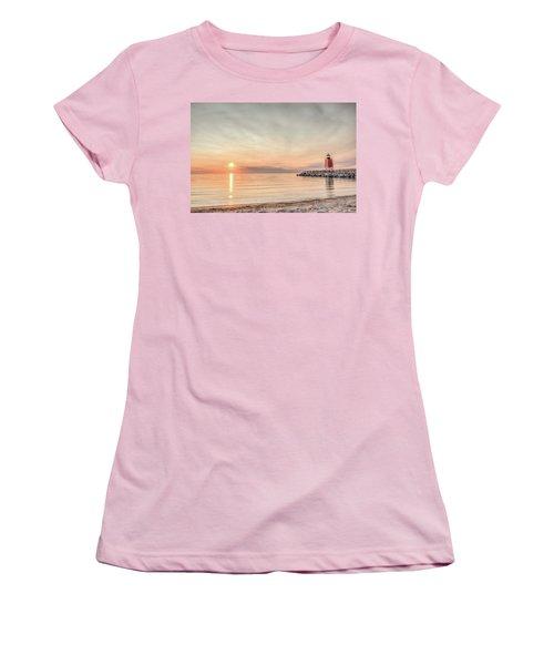Charelvoix Lighthouse In Charlevoix, Michigan Women's T-Shirt (Junior Cut) by Peter Ciro