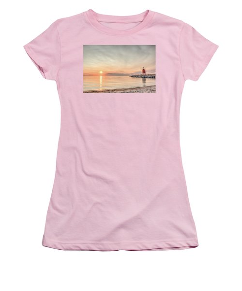 Charelvoix Lighthouse In Charlevoix, Michigan Women's T-Shirt (Athletic Fit)