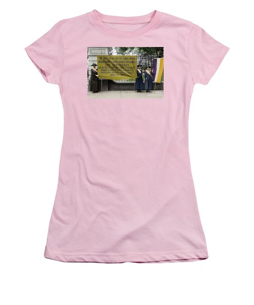 Women's T-Shirt (Athletic Fit) featuring the photograph Suffragettes, 1917 by Granger