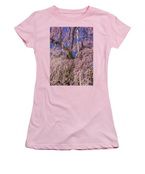 Women's T-Shirt (Athletic Fit) featuring the photograph Miharu Takizakura Weeping Cherry25 by Tatsuya Atarashi