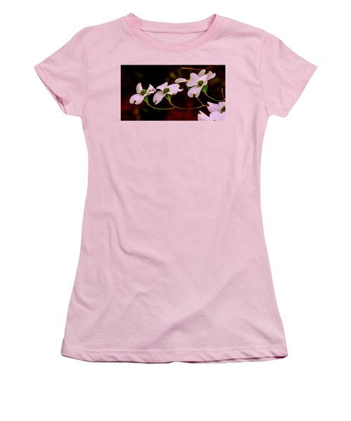 Women's T-Shirt (Junior Cut) featuring the photograph 3 Dogwood Blooms On A Branch by John Harding
