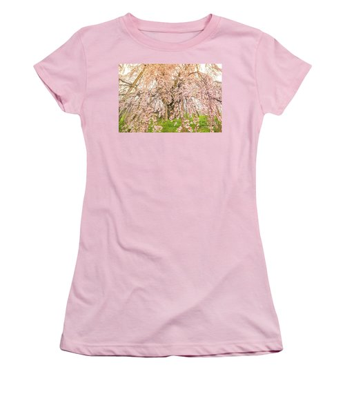 Women's T-Shirt (Athletic Fit) featuring the photograph Miharu Takizakura Weeping Cherry04 by Tatsuya Atarashi