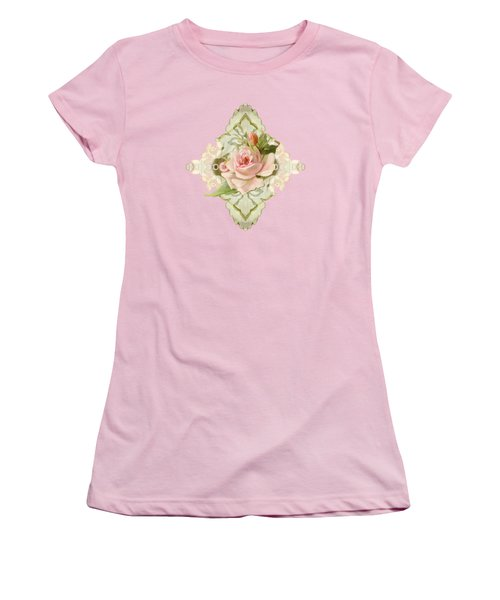 Summer At The Cottage - Vintage Style Damask Roses Women's T-Shirt (Junior Cut) by Audrey Jeanne Roberts