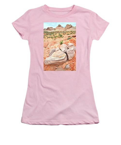 Women's T-Shirt (Junior Cut) featuring the photograph Multicolored Sandstone In Valley Of Fire by Ray Mathis
