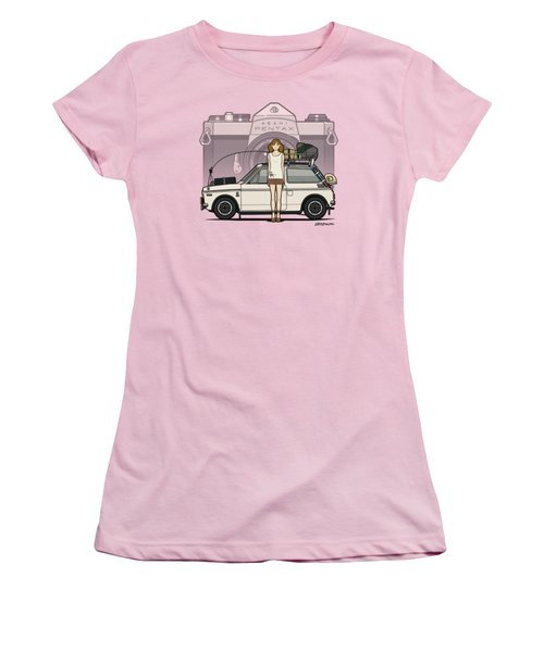 Honda N600 Rally Kei Car With Japanese 60's Asahi Pentax Commercial Girl Women's T-Shirt (Athletic Fit)