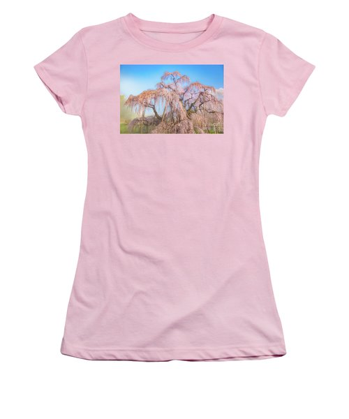 Women's T-Shirt (Athletic Fit) featuring the photograph Miharu Takizakura Weeping Cherry29 by Tatsuya Atarashi