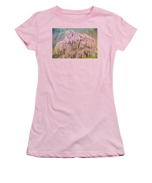 Women's T-Shirt (Athletic Fit) featuring the photograph Miharu Takizakura Weeping Cherry09 by Tatsuya Atarashi