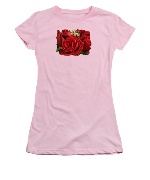 A Bouquet Of Red Roses Women's T-Shirt (Junior Cut) by Sue Melvin