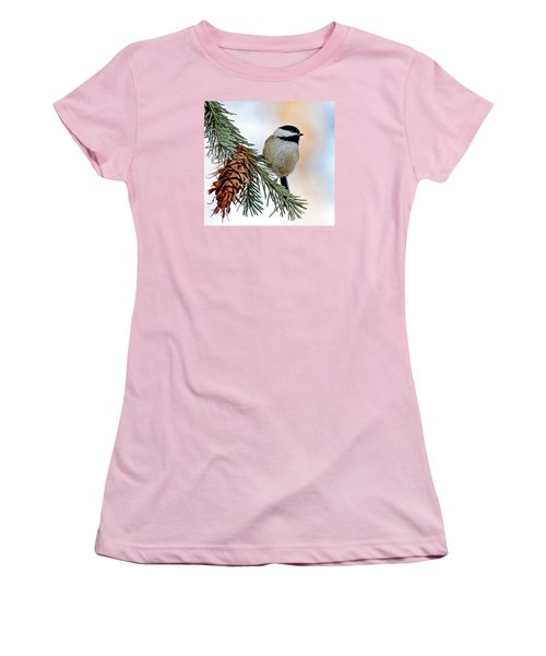 Women's T-Shirt (Junior Cut) featuring the photograph A Christmas Chickadee by Rodney Campbell