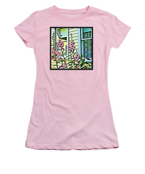 Women's T-Shirt (Junior Cut) featuring the digital art A Holly Hocks Morning by Mindy Newman