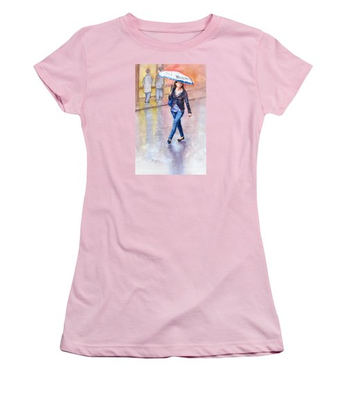 Women's T-Shirt (Junior Cut) featuring the painting A Walk In The Rain by Bonnie Rinier