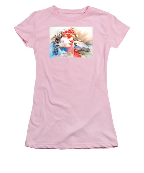 Women's T-Shirt (Junior Cut) featuring the painting Abstract David Michelangelo 2 by J- J- Espinoza