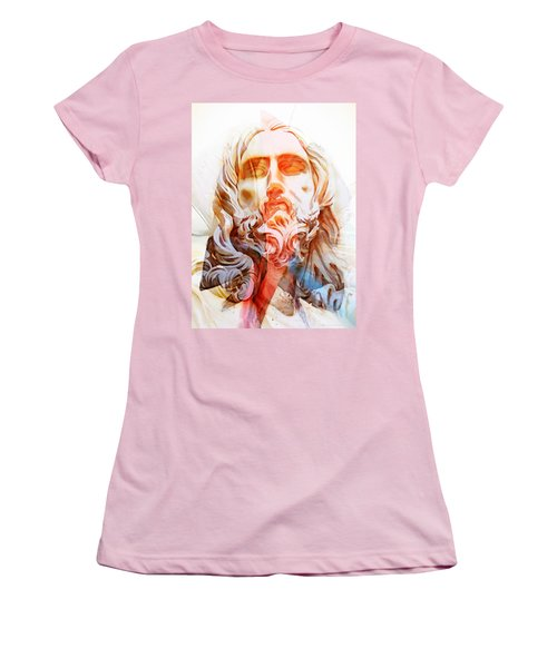 Women's T-Shirt (Junior Cut) featuring the painting Abstract Jesus 2 by J- J- Espinoza