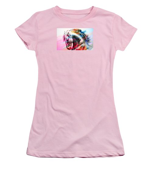 Women's T-Shirt (Junior Cut) featuring the painting Abstract White Horse 45 by J- J- Espinoza