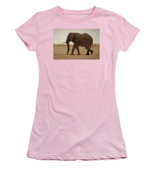 Women's T-Shirt (Junior Cut) featuring the digital art African Elephant Walk by Ernie Echols