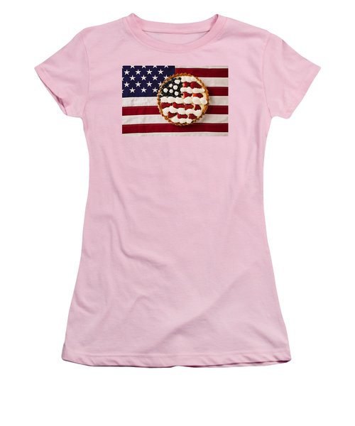 American Pie On American Flag  Women's T-Shirt (Athletic Fit)