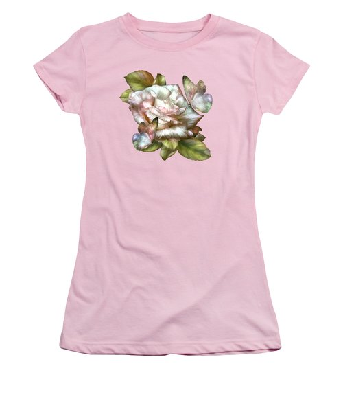 Women's T-Shirt (Junior Cut) featuring the mixed media Antique Rose And Butterflies by Carol Cavalaris