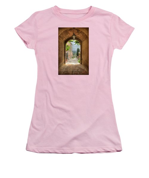Women's T-Shirt (Junior Cut) featuring the photograph Arched View by Uri Baruch