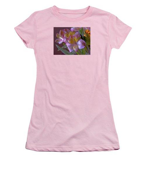 Women's T-Shirt (Athletic Fit) featuring the mixed media Arrangement 11 by Lynda Lehmann