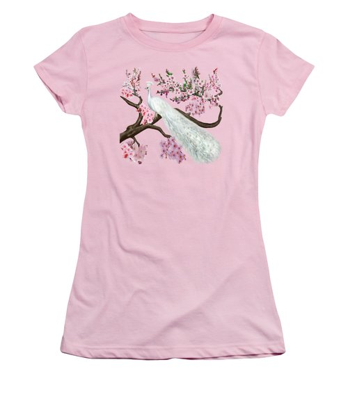 Cherry Blossom Peacock Women's T-Shirt (Athletic Fit)