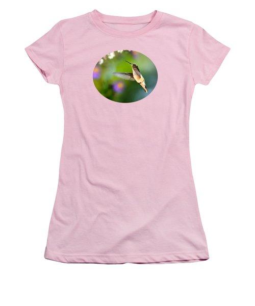 Garden Hummingbird Women's T-Shirt (Junior Cut) by Christina Rollo