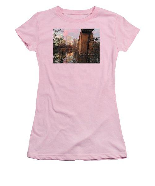 Austin Hike And Bike Trail - Train Trestle 1 Sunset Triptych Middle Women's T-Shirt (Junior Cut) by Felipe Adan Lerma