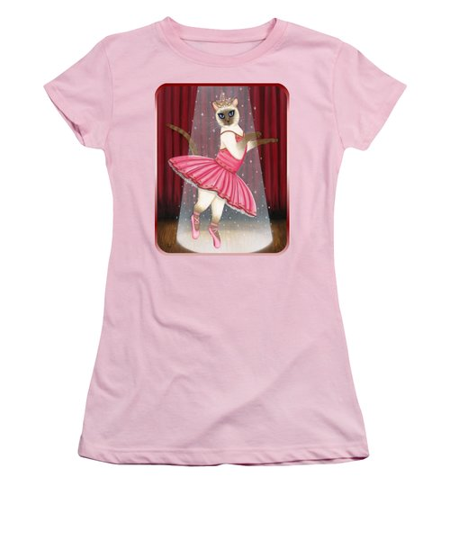 Women's T-Shirt (Athletic Fit) featuring the painting Ballerina Cat - Dancing Siamese Cat by Carrie Hawks