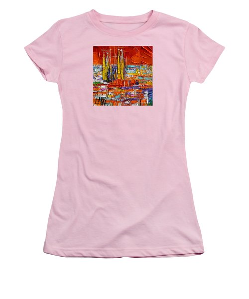 Barcelona View From Parc Guell - Abstract Miniature Women's T-Shirt (Athletic Fit)