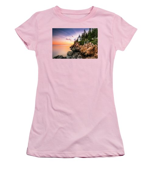 Women's T-Shirt (Junior Cut) featuring the photograph Bass Harbor Lighthouse Sunset by Ranjay Mitra