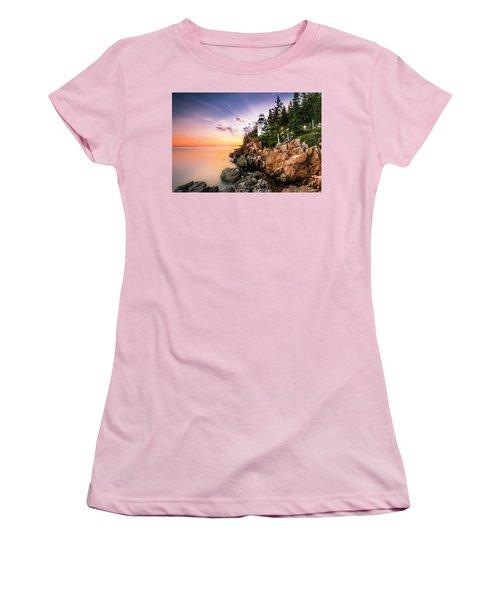 Bass Harbor Lighthouse Sunset Women's T-Shirt (Junior Cut) by Ranjay Mitra