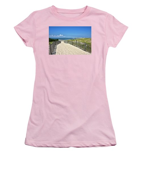 Women's T-Shirt (Junior Cut) featuring the photograph Beach Path At Cape Henlopen State Park - The Point - Delaware by Brendan Reals