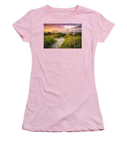 Beach Path Sunrise Women's T-Shirt (Athletic Fit)