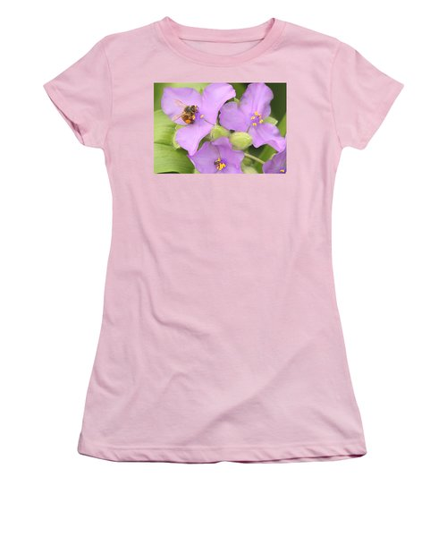Women's T-Shirt (Junior Cut) featuring the photograph Bee On Purple Spiderwort by Sheila Brown