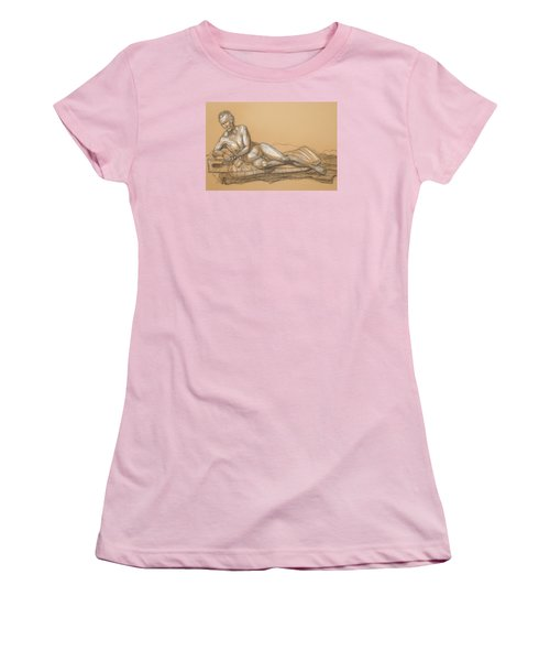 Women's T-Shirt (Junior Cut) featuring the drawing Bill Reclining by Donelli  DiMaria
