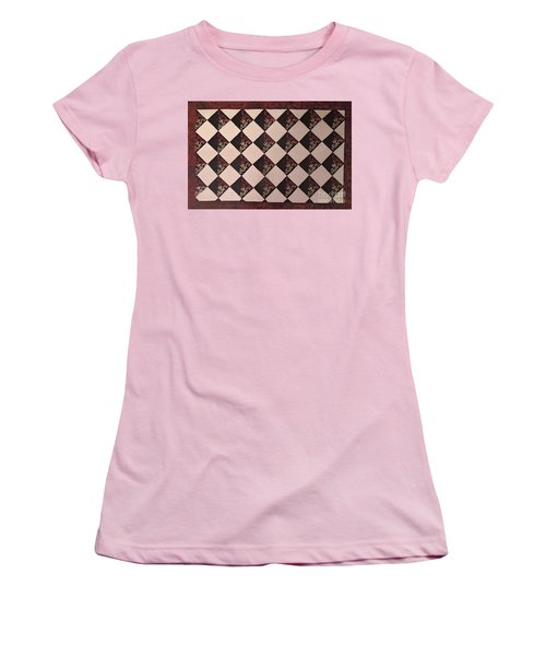 Black And White Checkered Floor Cloth Women's T-Shirt (Junior Cut) by Judith Espinoza