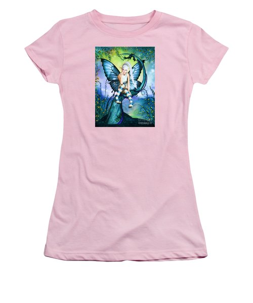 Blue Butterfly Fairy In A Tree Women's T-Shirt (Athletic Fit)