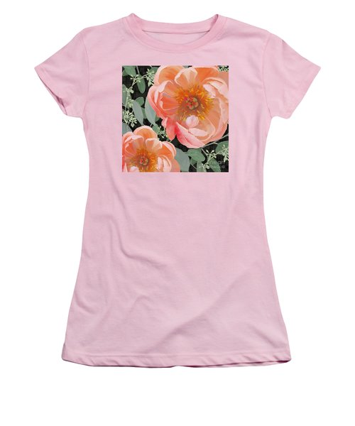Women's T-Shirt (Athletic Fit) featuring the painting Bold Peony Seeded Eucalyptus Leaves by Audrey Jeanne Roberts