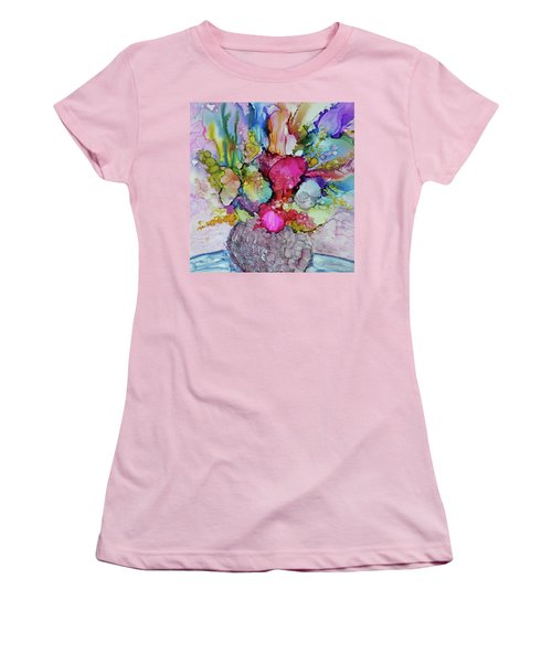 Women's T-Shirt (Junior Cut) featuring the painting Bouquet In Pastel by Joanne Smoley