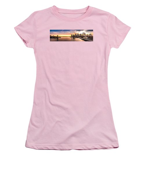 Brooklyn Bridge Panorama Women's T-Shirt (Junior Cut) by Mihai Andritoiu