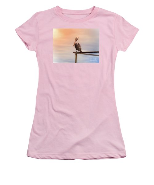 Women's T-Shirt (Junior Cut) featuring the photograph Brown Pelican Sunset by Robert Frederick