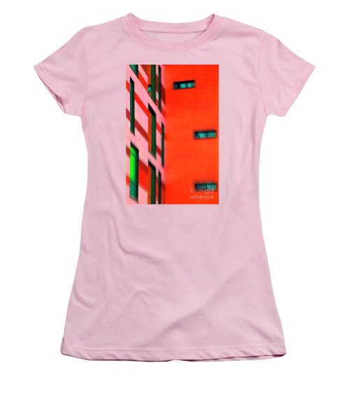Women's T-Shirt (Athletic Fit) featuring the digital art Building Block - Red by Wendy Wilton