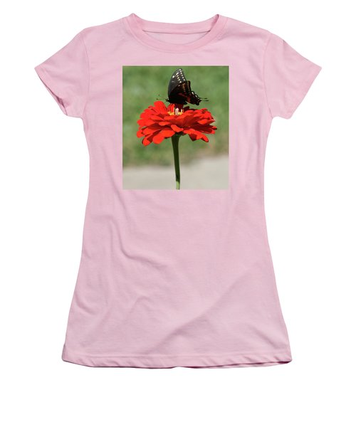 Butterfly On Red Zinnia Women's T-Shirt (Athletic Fit)