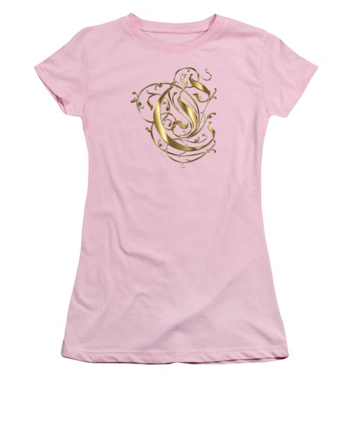 C Ornamental Letter Gold Typography Women's T-Shirt (Athletic Fit)