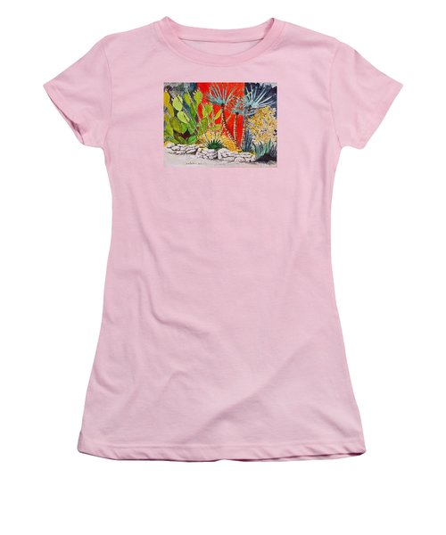 Cactus Garden  Women's T-Shirt (Junior Cut) by Fred Jinkins